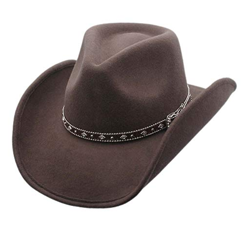 Men's Wool Cowboy Hat Silverado Brown Shapeable Western Hats by Silver Canyon