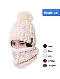 LCZTN Womens Pom Beanie Hat Scarf Set Girls Cute Winter Ski Hat with Fleece Lined