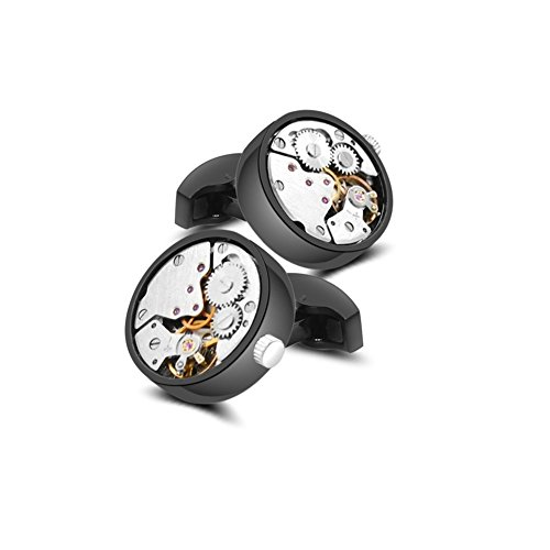 Merit Ocean Mechanical Movement Cufflinks Steampunk Watch Mens Shirt Vintage Watch Cuff Links Business Wedding Gifts with Gift (Mechanical Watch Cufflinks)