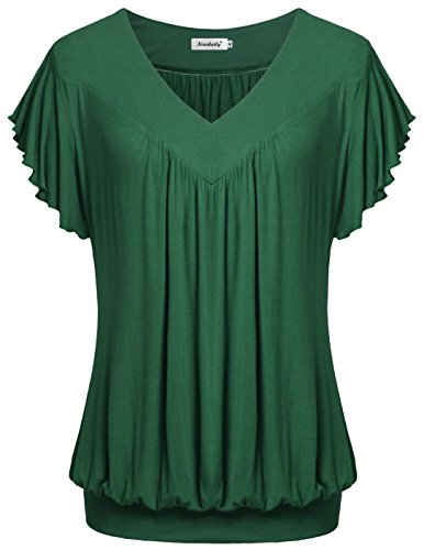 Ninedaily Plus Size Tops, Workout Blouse for Women Summer Clothing Short Sleeve V Neck Shirt Green Size L by Ninedaily