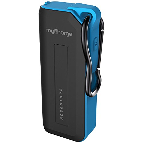 myCharge AdventureMini Portable Charger 3350mAh Rugged External Battery Pack with Built-in Carabiner Clip for Smartphones and USB Devices (Apple iPhone, iPod, Samsung Galaxy, Camping Accessories)