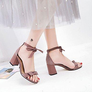 LvYuan Mujer Sandalias Tejido Primavera Verano Paseo Pajarita Corbata de Lazo Talón de bloque Negro Beige Rosa 5 - 7 cms beige