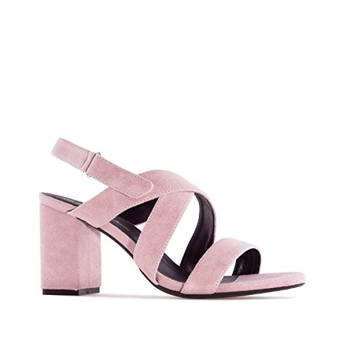 Andres Machado AM5246 Suede Heeled Sandals.Petite&Large Sizes: UK 0.5 to 2.5/EU 32 to 35 - UK 8 to 10.5/EU 42 to 45. Nude Suede