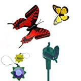 HQRP Multicolor Pair of Solar Powered Flying Fluttering Butterflies for Garden Plants Flowers + HQRP UV Chain (Red+Yellow) (Tools & Home Improvement)