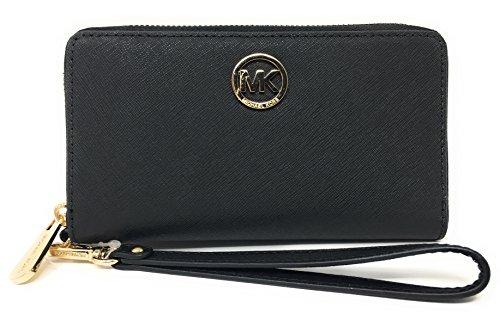 Michael Kors Fulton Large Flat Multifunction Phone Case Leather Wristlet (Black) by Michael Kors