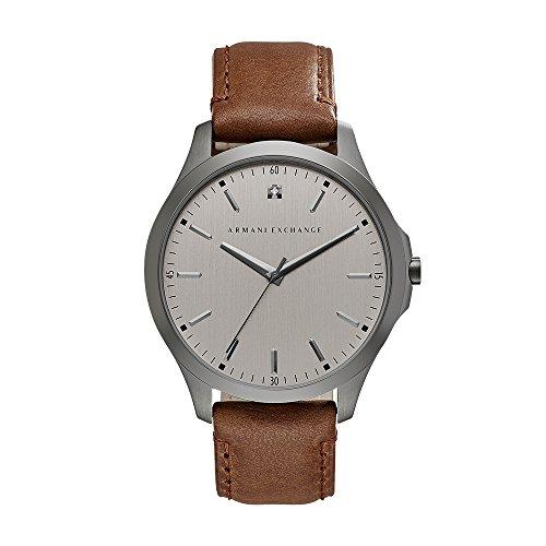 Armani Exchange Men's AX2195 Gunmetal Brown Leather Watch -