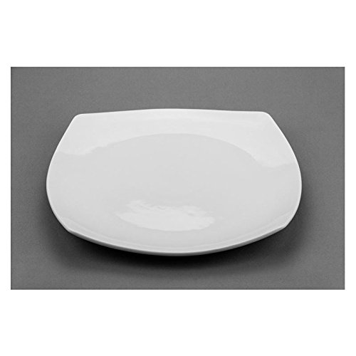 Modern M70212, 12-Inch Square Porcelain Plate, White Porcelain Classic Dinner Plates, Dinner Plate Set, Serving Platter (6-Piece Set)