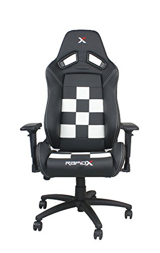 Nascar Video Rocker (Finish Line White on Black Checkered Flag Pattern Gaming and Lifestyle Chair by RapidX)