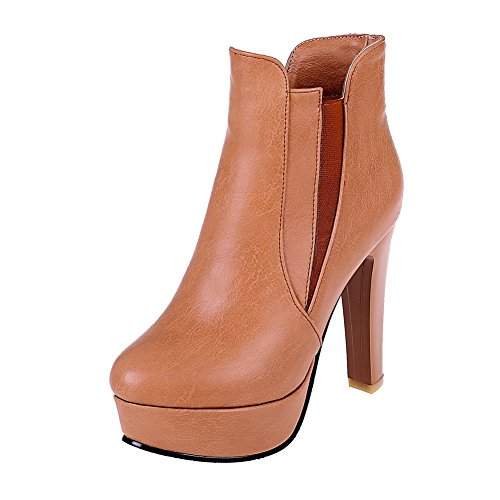 PU Blend Boots Yellow and Slipping Women's Allhqfashion High with Sole Materials Heels Thread 4O5fqw