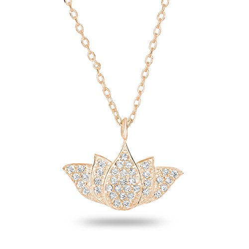 14k Rose Gold-Plated Sterling Silver Cubic Zirconia Pave Matte Finish Lotus Pendant Necklace, 18