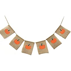 Rainlemon Thanksgiving Day Happy Fall Halloween Harvest Pumpkin Burlap Banner Garland Bunting Home Party Decoration