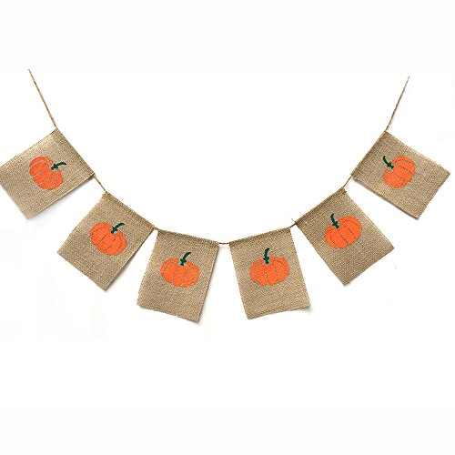 Rainlemon Thanksgiving Day Happy Fall Halloween Harvest Pumpkin Burlap Banner Garland Bunting Home Party Decoration ()