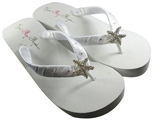 White High Wedge Starfish Swarovski Flip Flops Womens Bridal Wedding Platform Heel Satin