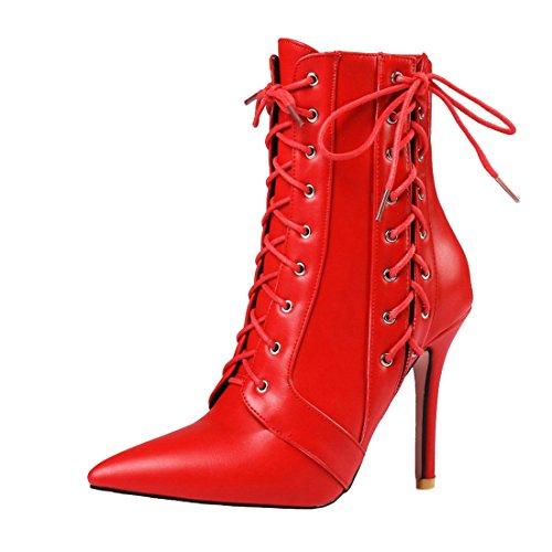 UH Femmes Chaussures Bottes avec Lacets à Cuissarde Bout Pointu Talons Haut Aiguilles Fermeture Eclair Sexy et en Mode Rouge