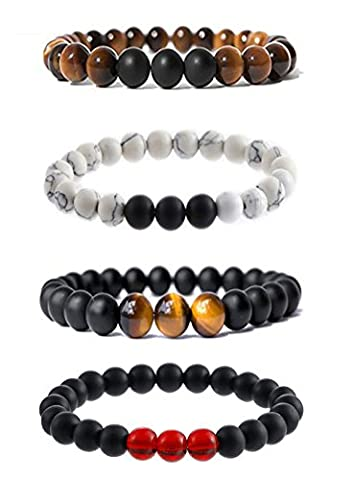 8mm Couples His and Hers Bracelet Turquoise Matte Agate Beaded Bracelet Bangle Stretch Anklets Men's and Women's Energy Healing Jewelry SXNK7 - Onyx Stone Bangles