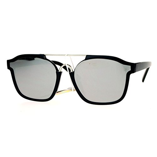 Super Hip Flat Mirror Lens Sunglasses Retro Unisex Fashion Shades Black, - For Hip Sunglasses Men