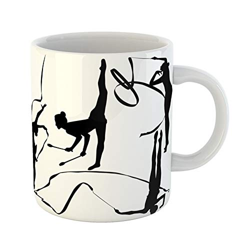 Emvency Coffee Tea Mug Gift 11 Ounces Funny Ceramic Achievement of Silhouettes Girl Gymnast Athlete Athletes Gifts For Family Friends Coworkers Boss Mug -