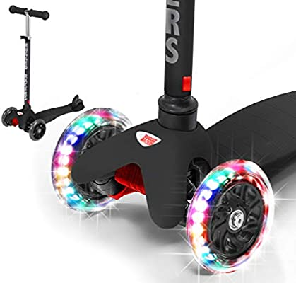 Rugged Racers Printed Kick Scooter for 3 Wheel Scooter Step Brake Mermaid Adjustable Kick Scooter for Kids with PU LED Light Up Wheels Lean 2 Turn Ride on Toys for Children 3 Year Plus