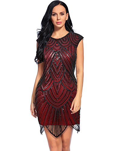 Flapper Girl Women's Retro Sequined Art Deco 1920s Beaded Great Gatsby Dress (L, Burgundy) (Flapper Girls Dresses)