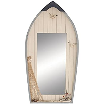 Deco 79 Seaside Nautical Row Boat Mirror Decor With Fishing Net