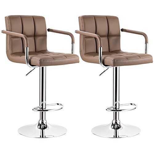 WOLTU ABSX1003lbn-c Modern Swivel Adjustable Bar Stools With Armrest,Synthetic Leather Hydraulic Counter Stools Light Brown Set of 2