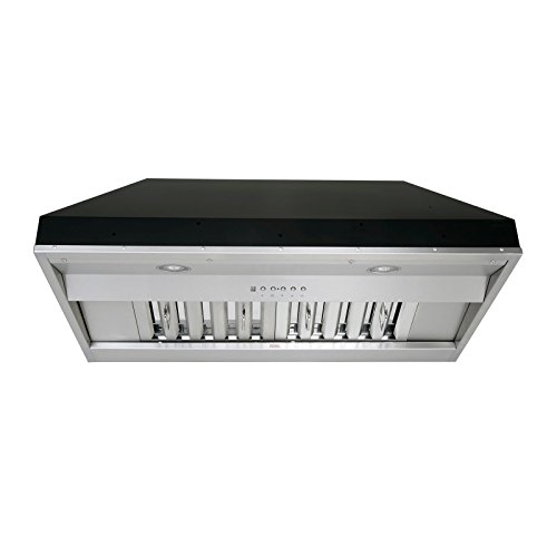 KOBE IN2630SQB-650-5A Deluxe 30″ Built-In/ Insert Range Hood, 6-Speed, 700 CFM, LED Lights, Baffle Filters