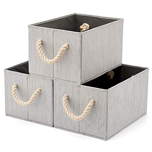 Pack of 3 EZOWare Bamboo Large Fabric Storage Bins Organizer with Cotton Rope Handle, Collapsible Cube Basket Container Box - Gray ()