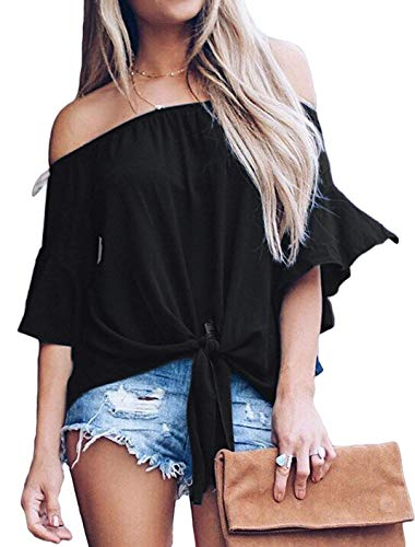 AEMOOEE Women's Solid Off Shoulder Bell Sleeve Shirt Tie Knot Casual Blouses Tops,Black,M