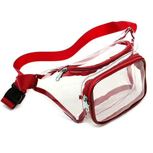 Fanny Pack, Veckle Clear Fanny Pack Waterproof Cute Waist Bag NFL Stadium Approved Clear Purse Transparent Adjustable Belt Bag for Men, Women, Travel, Beach, Events, and Concerts Red