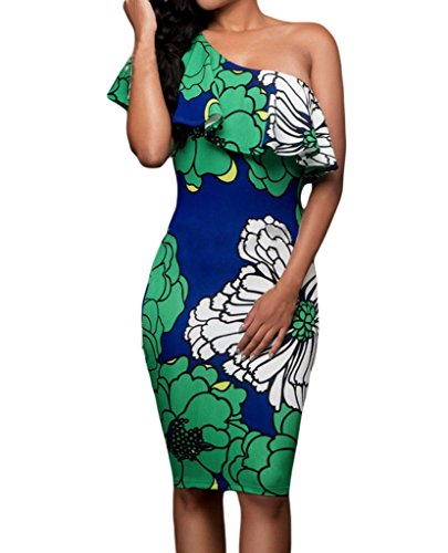 Shawhuwa Womens Sexy Floral Ruffle One Shoulder Bodycon Midi Dress S Green - Strapless Summer Dress