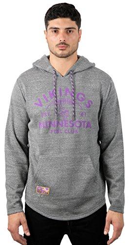 Icer Brands NFL Minnesota Vikings Men's Fleece Hoodie Pullover Sweatshirt Vintage Logo, Medium, Gray
