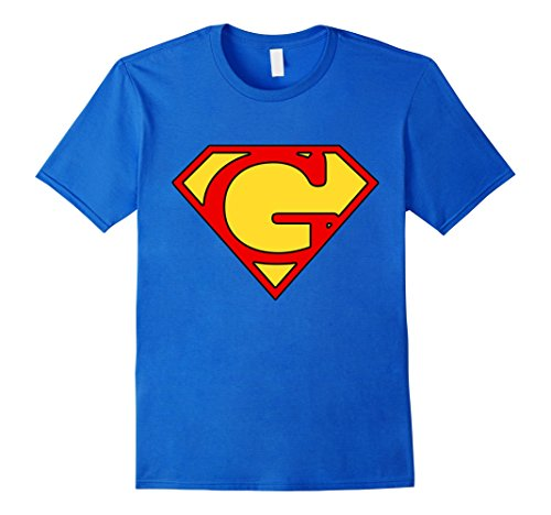 Mens Letter G Super Man T-Shirt XL Royal Blue