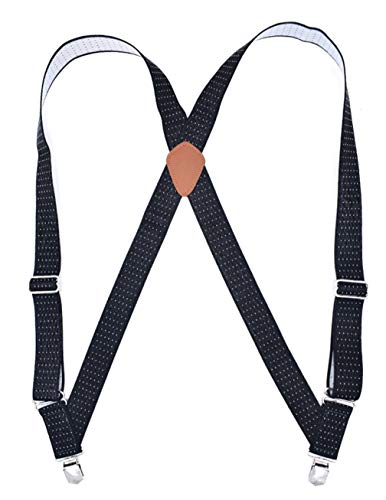 (MENDENG Trucker Side Clip Suspenders Polka Dot No-slip Elastic Adjustable Braces)