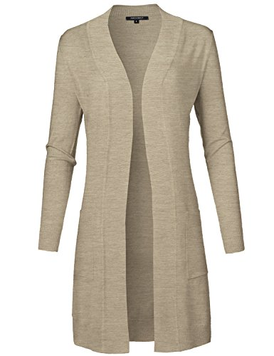 (Solid Soft Stretch Longline Long Sleeve Open Front Knit Cardigan Camel Size L)