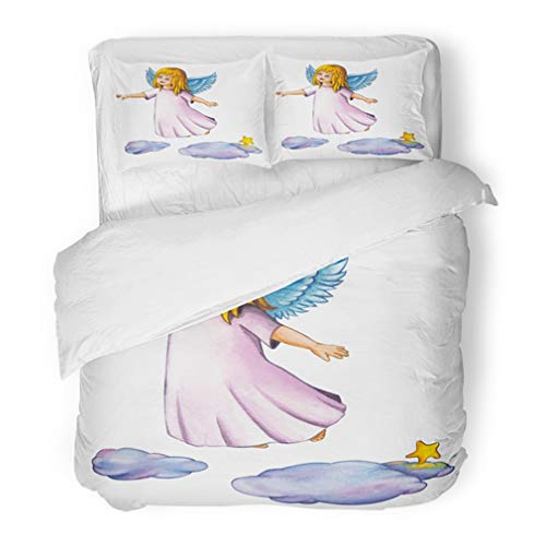 Emvency Bedding Duvet Cover Set Full/Queen (1 Duvet Cover + 2 Pillowcase) Pink Wings Cute Little Angel Girl Flying Above The Clouds Christmas Watercolor White Hotel Quality Wrinkle and Stain ()