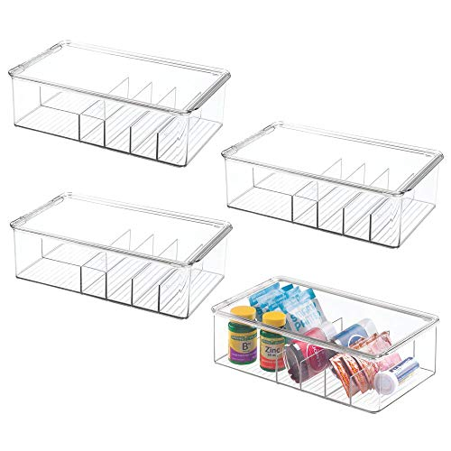 (mDesign Stackable Plastic Storage Bin Box with Lid - Divided Organizer for Vitamins, Supplements, Serums, Essential Oils, Medicine Pill Bottles, Adhesive Bandages, First Aid Supplies - 4 Pack - Clear)