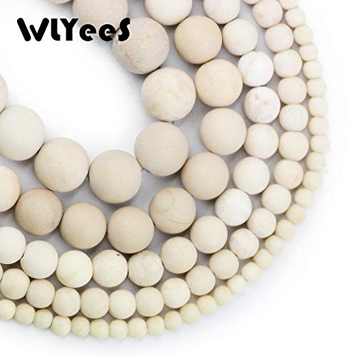 Calvas Natural Matte Ancient Fossils Stone Rice White Round Loose Bead Ball 4/6/8/10/12MM Jewelry Bracelet Making DIY Accessory - (Item Diameter: 10mm 34-37pcs1Strand) ()