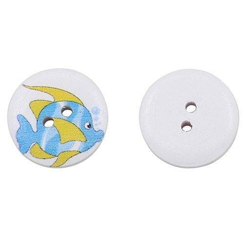/álbumes de recortes herramientas de costura Ancla redonda de madera multicolor con botones tropicales en forma de pez para manualidades