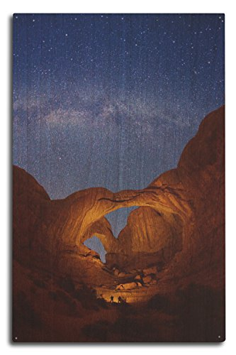 Lantern Press Double Arch, Arches National Park, Utah - Milky Way Stars (10x15 Wood Wall Sign, Wall Decor Ready to Hang)
