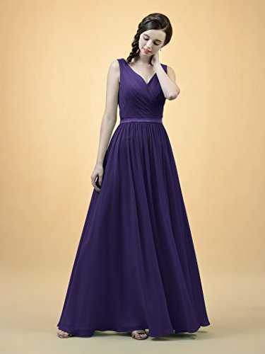 Eggplant Alicepub Dress Prom Chiffon Party Neck Evening Bridesmaid Sleeveless V Dress Long BxqBHPU