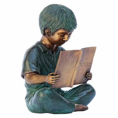 Story Book Boy Solid Bronze Garden Sculpture - Solid Bronze Garden Sculpture