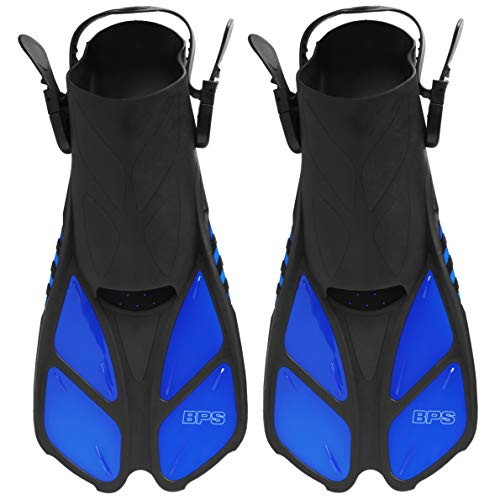BPS Swim Flippers - Adjustable Short-Blade Swim fins with Revolutionary Comfort on Land and sea. Durable for Diving, Swimming, Snorkeling - Open-Toe and Heel for Women, Men Swim FINS (Blue XXS, XS) ()