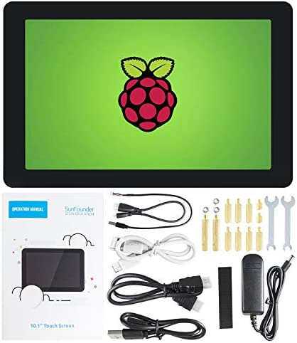 "Raspberry Pi 10 Inch Touch Screen - SunFounder 10.1"" HDMI 1280x800 IPS LCD Touchscreen for RPi 4 Model B 3 Model B+ 3B 2B LattePanda Beagle Bone"