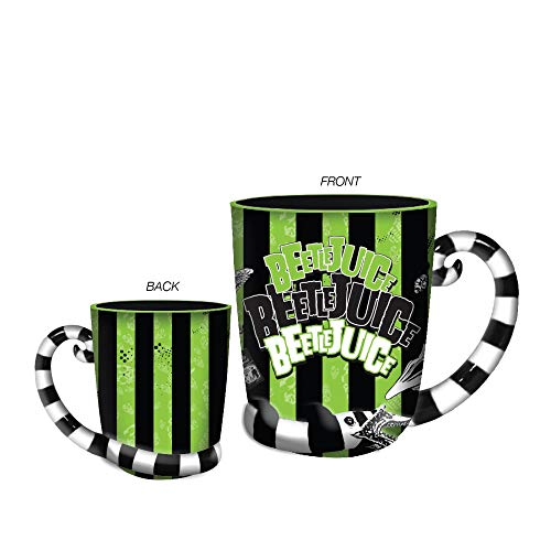 Silver Buffalo WBH2213D Beetlejuice Stripes and Names Boxed Ceramic 3D Sculpted Mug, 24-ounces, Green/Black]()