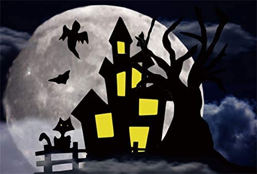 Yeele Halloween Dark Castle Full Moon Backdrop Kids Halloween Party Decoration Photography Background Kid Adults Artistic Portrait 10x10ft Trick or Treat Event Photoshoot Prop Photo Booth Wallpaper