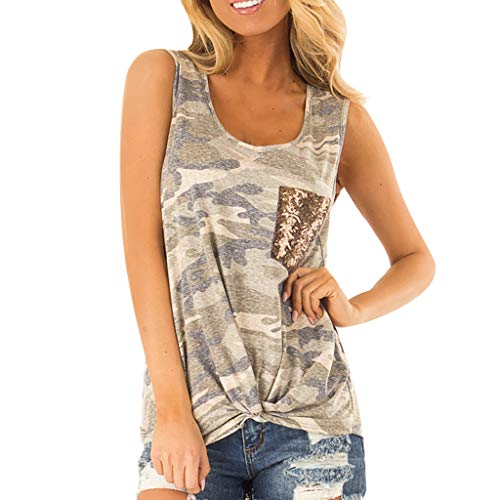 Womens Fashion Sleeveless Sequin Pocket Front Knot Camouflage Print Tank Top