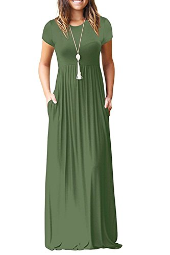 DEARCASE Women's Round Neck Short Sleeves A-line Casual Dress with Pocket Army Green X-Large