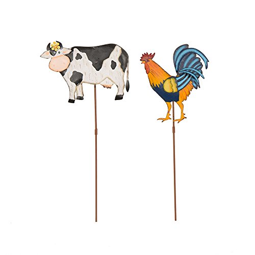 Glitzhome Farm Theme Iron Cow/Rooster Picks Decorative Yard Stake Set of (Spirit Of Halloween Toronto)