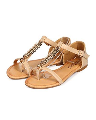 Cherish Ed52 Femmes En Similicuir Palm T-strap Thong Sandale Plate Nue