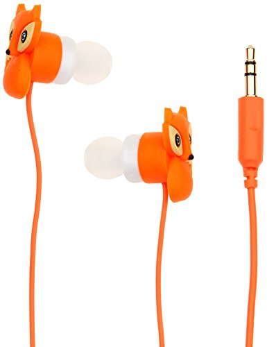 DCI In-Ear Headphones, Fox Earbuds, Orange Cord, 3.5 mm socket, Smartphone, Laptop, Tablet Compatible